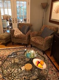 Brass and glass coffee table and matched set of armchairs with ottoman, Framed Botanical Print and Mica Floor Lamp