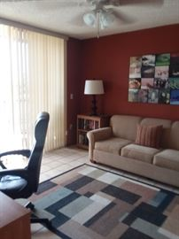 Office desk, chair and bookcase. sleeper sofa, side table and rug.