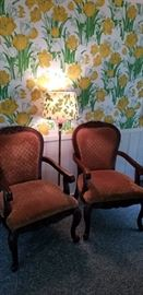 Pair of vintage upholstered chairs.