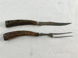 Vintage Antler Sterling Silver Handle Knife & Fork Set http://www.ctonlineauctions.com/detail.asp?id=763095