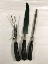Vintage Antler Handled Carving Set (3pcs)  http://www.ctonlineauctions.com/detail.asp?id=763097