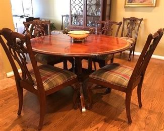 Ethan Allen  - Round Pedestal Dining Table with 6 Chippendale Mahogany Chairs