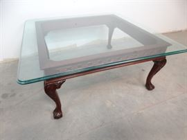 Chippendale Style Glass Top Coffee Table