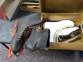 2 sets of vintage ice skates