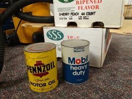 2 boxes empty vintage oil cans