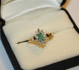 Gold, Diamond and Emerald Ring
