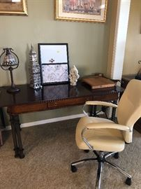 Wood Desk and white leather chair
