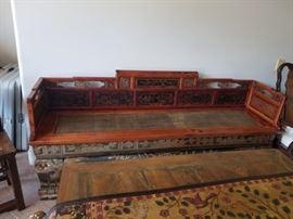 Vintage Oriental Carved Wood Seating Unit