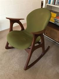 Danish modern rocking chair designed by Aage Christiansen and manufactured by Erhardsen & Andersen in Denmark circa 1960's.