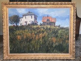 """Ben Abril (1923-1995) Oil on Canvas """"Salt Box & Castle"""" Bunker Hill, Los Angeles 30""""x40"""""""