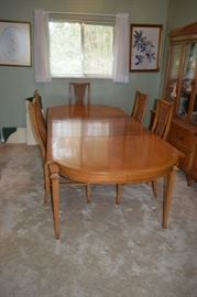 "Mid Century Solid Wood Dining Table with 2 Armchairs and 4 Side Chairs 64"" Long X 44"" Wide Plus (3) 12"" Leaves."