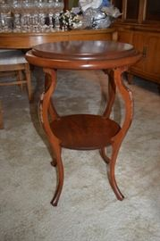 """Antique Accent Table 21"""" Round X 31"""" Tall"""