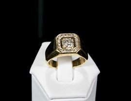 Estate Jewelry Diamond Solitaire Men's Ring