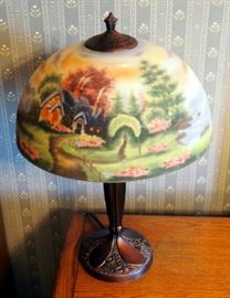 "Hand Painted Tiffany Style Table Lamp, Seaside Cottage Theme, 24"" Tall"