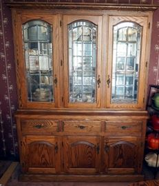 "Solid Wood, Leaded Beveled Glass, Lighted China Hutch, 78""x 60"" x 18"""