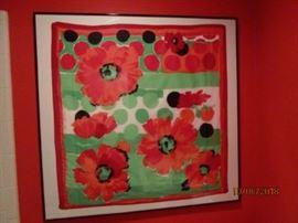 Scarf  from Paris, France.  Designer Roger Laurent.  Framed size 40 x 40.