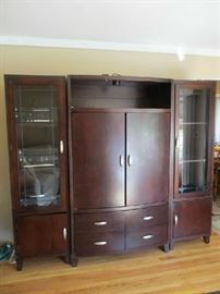 ENTERTAINMENT ARMOIRE & 2 SIDE CABINETS