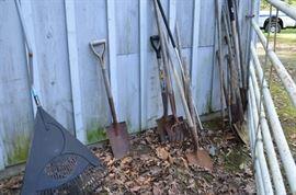 Rakes, shovels, garden tools. $5-8