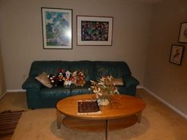 Ethan Allen table/ Leather sofa