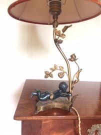 Napoleon II bronze putto table lamp