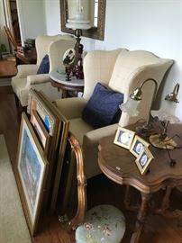 Ethan Allen Chippendale wingback chairs and antique tables