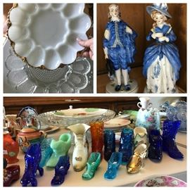 Glass shoe collection and lots of assorted glassware, including Fenton