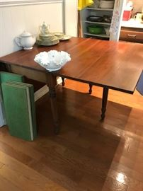 beautiful antique walnut drop leaf table with set of pads