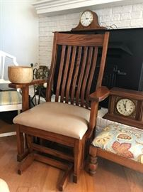 Beautifully handcrafted glider chair custom made locally by Glenrose Cabinets, Belvidere, TN, in 2016; antique clocks