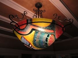 Ulla Darni  ORIGINAL & SIGNED FLORAL ABSTRACT CHANDELIER Reverse Painted Glass With Hand Forged Ironwork