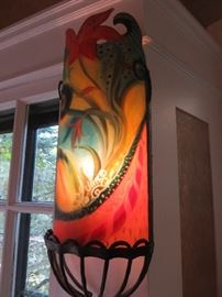 Ulla Darni  ORIGINAL & SIGNED FLORAL ABSTRACT SCONCES Reverse Painted Glass With Hand Forged Ironwork