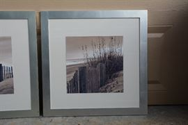 $100 - framed set of beach photographs;