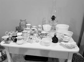 Enamel table and vintage glassware