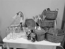 vintage milk bottles and  authentic Longaberger baskets