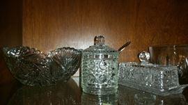 Crystal Butter Dish, Bowl, Lidded Jar