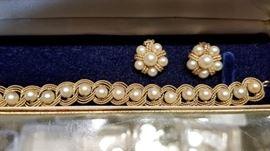 Gold & Pearl bracelet & earrings