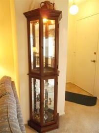 "$100.00 6 shelf lighted curio cabinet - measures 22"" x 11"" x 70"""