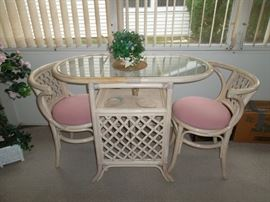 "$145.00 rattan cafe table with 2 chairs - measures 39"" x 20"" x 30"""