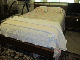 Mid century modern full bed-wooden headboard and footboard