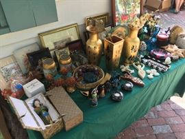 gold asian vases, china porcelin dolls in cases african art, french vases
