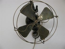 Telephone Booth Brass Blade Fan