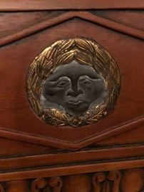 Face detail on wood side chairs