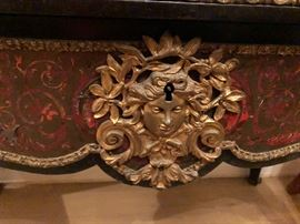 Brass detail on french writing desk