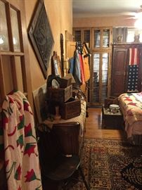Vintage dresser with lots of storage, more vintage quilts, lots of great old boxes, flow blue, leather chaps