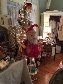Vintage store display Santa, wicker, Arts and Craft Desk, Victorian clothing