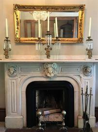 19th c Candle Holder Garniture, Giltwood Antique Mirror, Antique Andirons