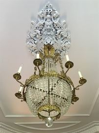 19th c French Empire Gilt Metal and Crystal Chandelier
