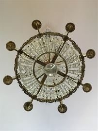 8 Arm Gilt Metal and Crystal French Empire Chandelier