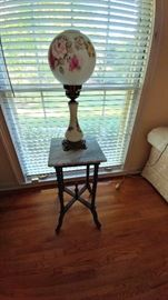 Nice lamp and marbletop accent table