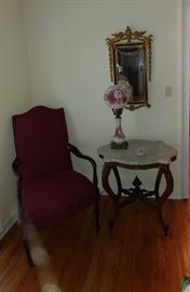 Lovely chair and marbletop Victorian table