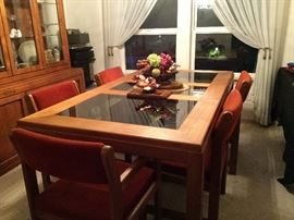 Vintage TEAK Table and Chairs. Interchangeable glass/teak inserts and Cover for Table.